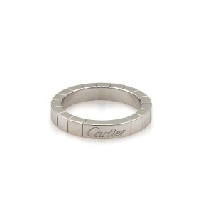 Cartier Lanieres 18k White Gold 3mm Wide Band Ring Size 48-US 4.5
