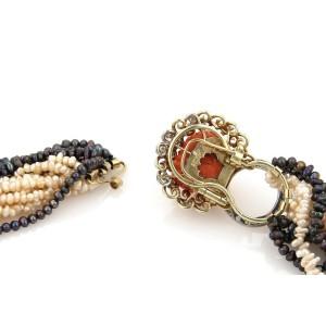 Estate 2.40ct Diamond Coral Dragon Foo Dogs14k Gold Multi-Strand Pearl Necklace