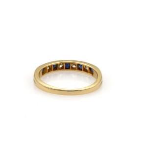 Tiffany & Co. Diamond Sapphire 18k Yellow Gold 3mm Wide Band Ring