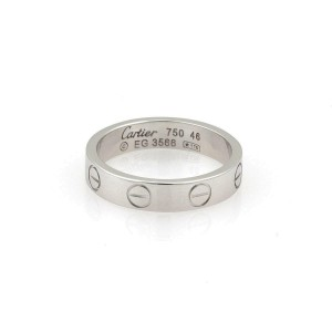 Cartier Mini Love 18k White Gold 3.5mm Band Ring Size 46-US 3.75