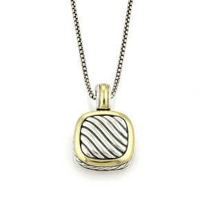David Yurman Albion Sterling Silver 18k Yellow Gold Cable Pendant Necklace