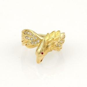 Carrera y Carrera Diamond & Ruby 18K Yellow Gold Eagle Ring Size 6