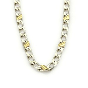 """Tiffany & Co. Sterling Silver 18k Yellow Gold Accent Curb Link Chain 16"""""""