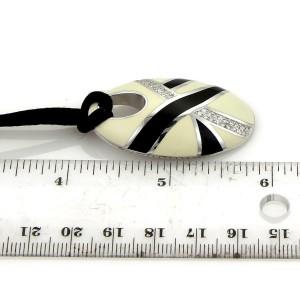 Roberto Coin Diamond 18k White Gold & Enamel Oval Pendant & Cord Necklace
