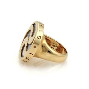 Bulgari Bvlgari Mother Of Pearl Spinning Optical 18k YGold & Steel Ring