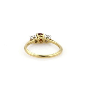 Tiffany & Co. Diamond Ruby 18k Yellow Gold Platinum Stack Band Ring Size 5