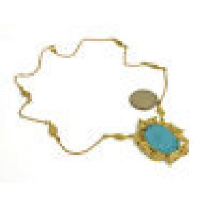 Vintage Diamonds Carved Turquoise Cameo Pendant & Chain Necklace in 18k YGold