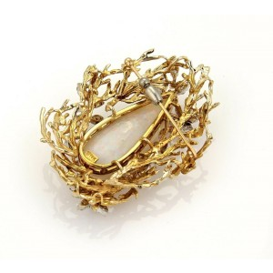 Vintage 38ct Large Pear Cut Fire Opal & Diamonds 14k Gold Pendant Brooch