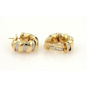 Bulgari Bvlgari Tugobas18k Yellow Gold & Steel 11mm Wide Hoop Earrings