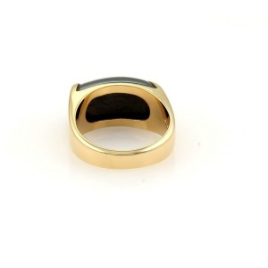 Bulgari Bvlgari Tronchetto 18k Yellow Gold & Hematite Band Ring Size 5