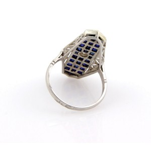 Estate Platinum Art Deco Diamond Sapphire Filigree Ring