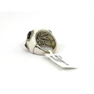 Estate Diamond Tourmaline Amethyst & Onyx 18k White Gold Dome Band Ring Size 6.5