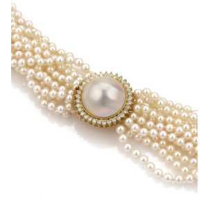 Gorgeous 1.00ct Diamond Mabe Pearl &  Multi-Strand Long Pearl Necklace