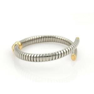 Bvlgari Bulgari Steel & 18K Yellow Gold Tubogas Heart Open Flex Bracelet