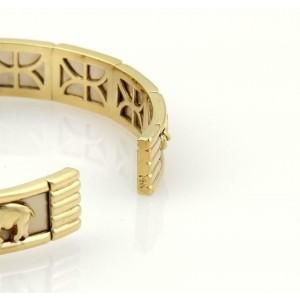 Estate 14k Two Tone Gold Elephant Textured Cuff Bangle Bracelet