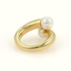Cartier Toi et Moi Akoya Pearls 18k Yellow Gold Bypas Ring Size EU 47-US 4