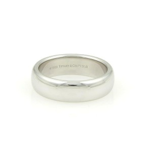 Tiffany & Co. Lucida Platinum 6mm Wide Wedding Band Ring Size 8