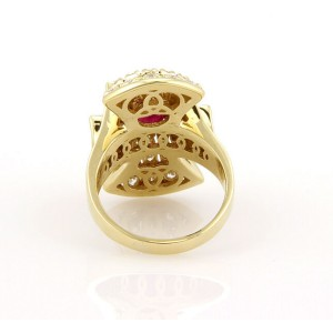 Estate 18K Yellow Gold Ruby Diamond Cocktail Ring