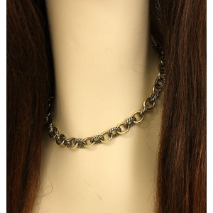 David Yurman Sterling Silver & 18k Yellow Gold Cable Wire Oval Chain Necklace