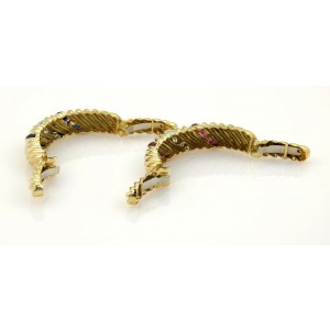 Gorgeous 7.20ct Diamonds Sapphire & Rubies 18k Gold Set of 2 Cuff Band Bracelets