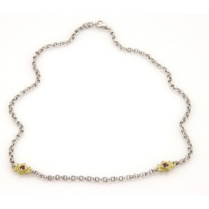 """Judith Ripka Sterling Silver & 18K Yellow Gold Amethyst Chain Link Necklace 16"""""""
