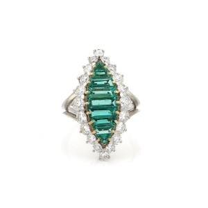 Platinum 4.3ctw Diamond & Emerald 18k Yellow Gold Cocktail Ring