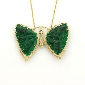 Vintage Diamonds & Jade Large Butterfly 18k Gold Pendant & Chain Necklace