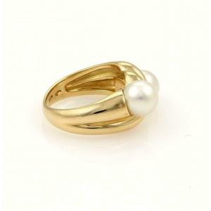 Bvlgari Bulgari 18k Yellow Gold & Two 7mm Pearls Twisted Design Band Ring