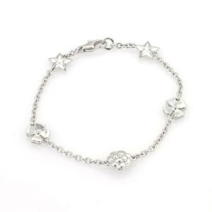 Chanel Camelia 18k White Gold Flowers & Stars Charm Bracelet
