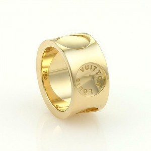 Louis Vuitton Impreinte 18k Yellow Gold 10mm Wide Band Ring Size 48 US 5