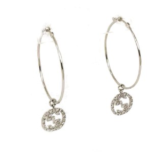 Gucci G Logo Charm Diamond 18k White Gold Large Hoop Dangle Earrings