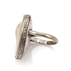 Art Deco Blister Pearl 14k White Gold Scroll Design Pear Shape Ring