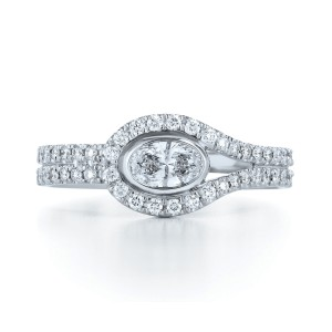 Kwiat 18k White Gold Fancy Ring From The Silhouette Collection Size 6.5