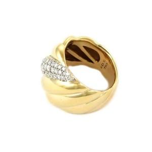 David Yurman 1.00ct Diamond 18k Two Tone Gold Wide Fancy Band Ring Size 8