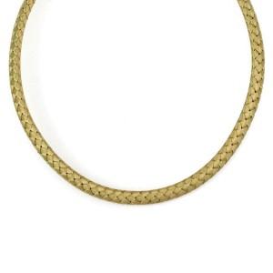 Roberto Coin Silk 18k Yellow Gold 8mm Basket Weave Flex Choker Necklace
