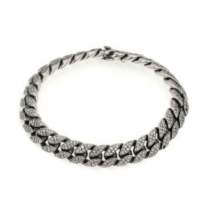 David Yurman 4.00ct Diamond 925 Silver 18k Gold 11.5mm Men's Curb Link Bracelet