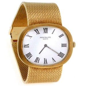 Vintage Patek Philippe 18k Yellow Gold Hand Wind Men's Wrist Watch