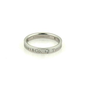 Tiffany & Co. 3 Diamond Platinum Flat Band Ring