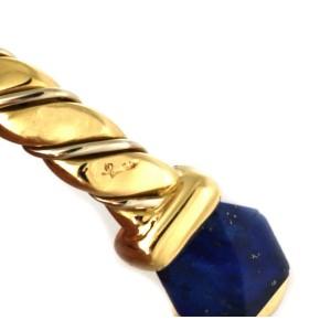 Pomellato Lapis 18k Two Tone Gold Fancy Cuff Bangle Bracelet