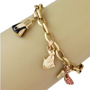 Multicolor Enamel 14k Yellow Gold 5 Dangle Charms Oval Chain Bracelet