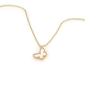 Van Cleef & Arpels Sweet Alhambra MOP Butterfly 18k Yellow Gold Necklace w/Cert