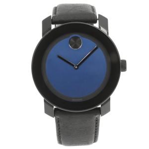 Movado Bold Steel Plastic Leather Blue Metallic Dial Quartz Mens Watch 3600481