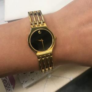 Movado Esperanza Museum Steel Black Dial Quartz Ladies Bracelet Watch 0600457
