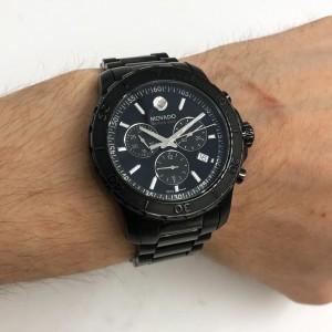 Movado Series 800 Chronograph Black Dial Quartz Stainless Steel  Watch 2600119
