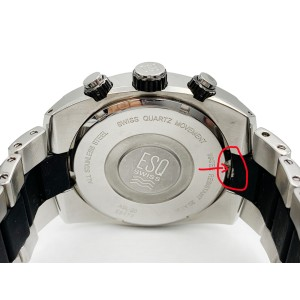 ESQ Movado Pipeline Chronograph Steel Black Rubber Quartz Mens Watch 7301143