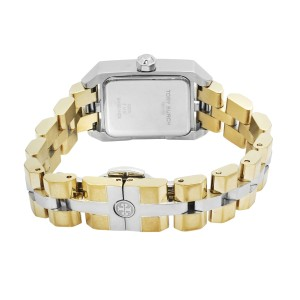 Tory Burch Dalloway Two Tone Steel Cream Dial Rectangle Face Quartz Watch TB1102
