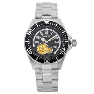Invicta Pro Diver Black Arabic Dial Steel Openworked Automatic Mens Watch 3434
