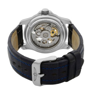 Invicta Skeleton Openworked 39mm Steel Automatic Blue Leather Quartz Mens Watch