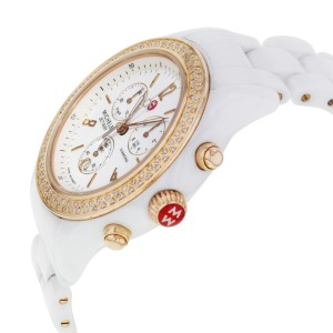 Michele Jetway Diamond 0.50cttw Ceramic Plated Steel Ladies Watch MWW17B000008