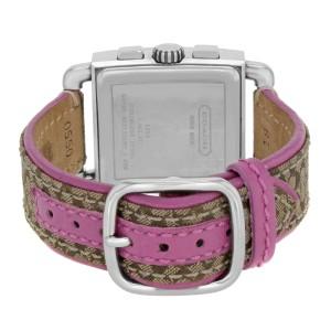 Coach Chronograph White Pink Color Dial Steel Leather Quartz Ladies Watch 0253